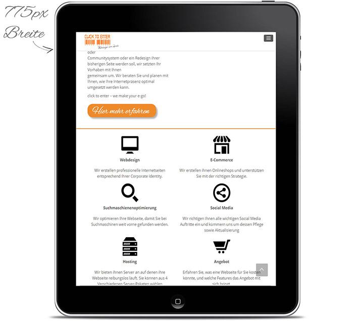 Webdesign Tablet